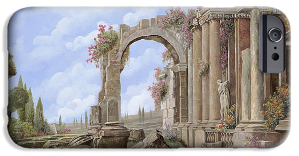 Statue iPhone Cases - Roman ruins iPhone Case by Guido Borelli