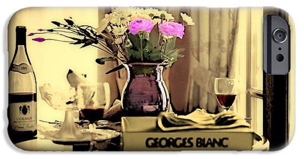Table Wine Digital iPhone Cases - Romance in the Afternoon II iPhone Case by Madeline Ellis