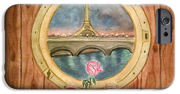 Table Wine iPhone Cases - Romantic Interlude on the River Seine iPhone Case by M Carlen
