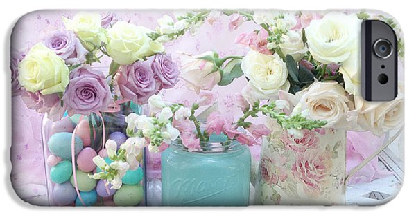 Floral Photographs iPhone Cases - Romantic Shabby Chic Pastel Pink Aqua White Roses - Shabby Chic Spring Romantic Floral Art iPhone Case by Kathy Fornal