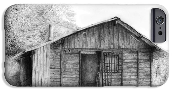 Log Cabin Drawings iPhone Cases - Romantic wooden cabin in mountain landscape beautiful detailed monochromatic pencil drawing iPhone Case by Jozef Klopacka