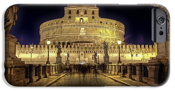 Night Angel iPhone Cases - Rome castel sant angelo iPhone Case by Joana Kruse