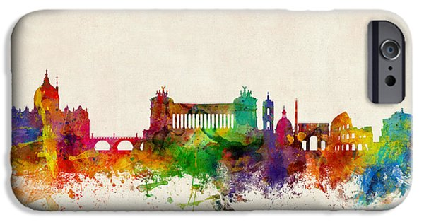 Vatican iPhone Cases - Rome Italy Skyline iPhone Case by Michael Tompsett