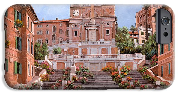 Street Scene Paintings iPhone Cases - Rome-Piazza di Spagna iPhone Case by Guido Borelli