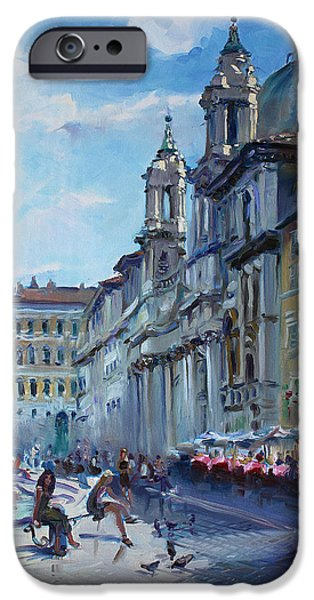 City Scape Paintings iPhone Cases - Rome Piazza Navona iPhone Case by Ylli Haruni