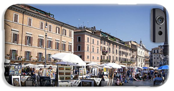 Painter Photographs iPhone Cases - Rome Plaza Navona iPhone Case by David Birchall