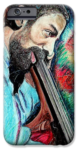 Celebrities Art Pastels iPhone Cases - Ron Carter iPhone Case by Jimmy Cothren