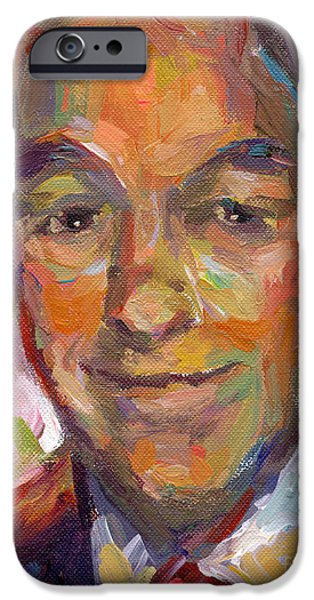 Presidential Elections iPhone Cases - Ron Paul art impressionistic painting  iPhone Case by Svetlana Novikova