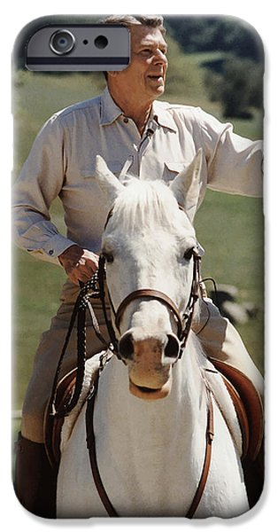 History Mixed Media iPhone Cases - Ronald Reagan On Horseback  iPhone Case by War Is Hell Store