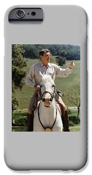 Cold iPhone Cases - Ronald Reagan On Horseback  iPhone Case by War Is Hell Store