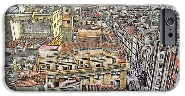 Old Digital Art iPhone Cases - Roofs iPhone Case by Sly Morosow