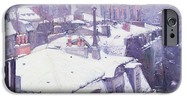 Winter Scenes iPhone Cases - Roofs under Snow iPhone Case by Gustave Caillebotte