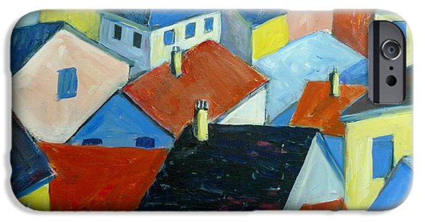 Arial View Paintings iPhone Cases - Rooftops in France iPhone Case by Saga Sabin