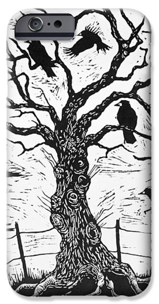 Crows Drawings iPhone Cases - Rook Tree iPhone Case by Nat Morley