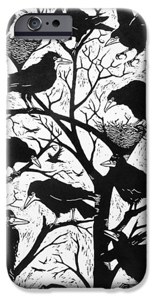 Crows Drawings iPhone Cases - Rooks iPhone Case by Nat Morley