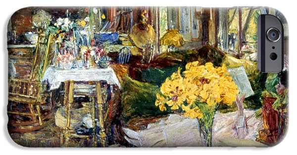 Hassam iPhone Cases - Room Of Flowers, 1894 iPhone Case by Granger