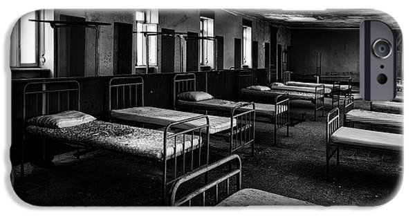 Sheets iPhone Cases - Room of nightmares - abandoned school building iPhone Case by Dirk Ercken