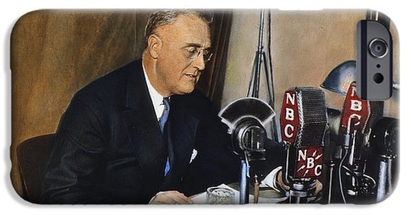 Franklin iPhone Cases - Roosevelt: Fireside Chat iPhone Case by Granger