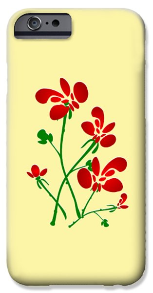 Yellow Digital iPhone Cases - Rooster Flowers iPhone Case by Anastasiya Malakhova