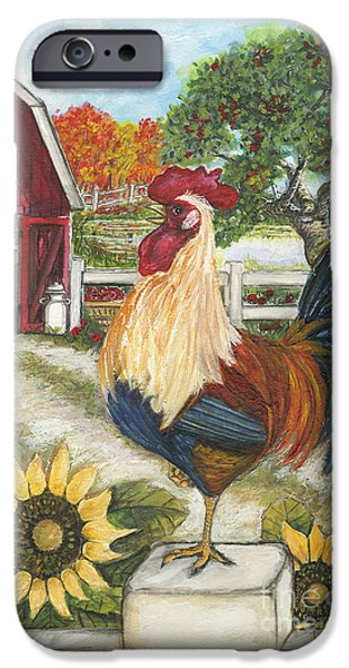 Basket iPhone Cases - Rooster on the Apple Farm iPhone Case by Julie Futch