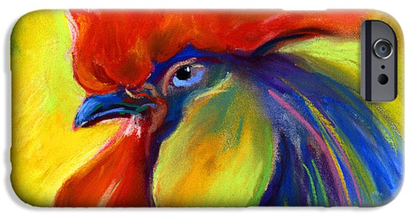 Animal Pastels iPhone Cases - Rooster painting iPhone Case by Svetlana Novikova