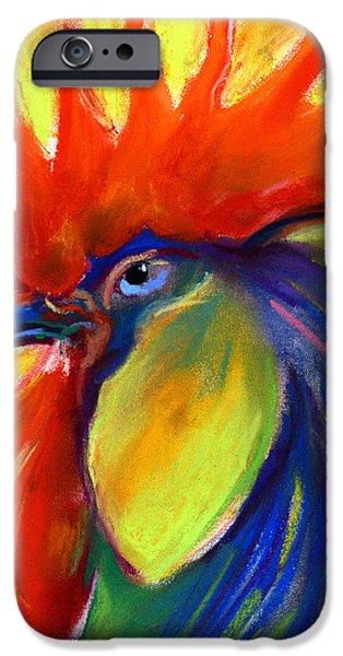 Rooster painting iPhone Case by Svetlana Novikova