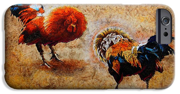 Original Mixed Media iPhone Cases - Roosters  Scene iPhone Case by Jose Espinoza