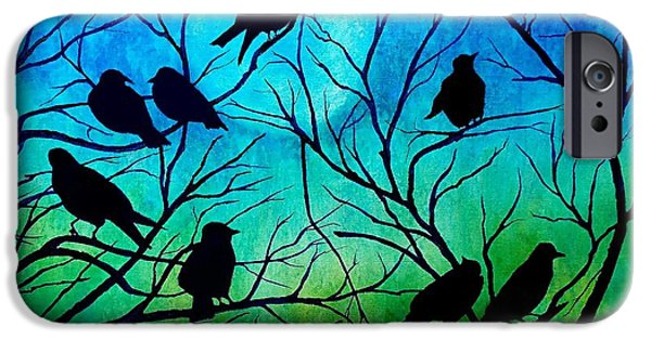 Crows iPhone Cases - Roosting Birds iPhone Case by Susan DeLain