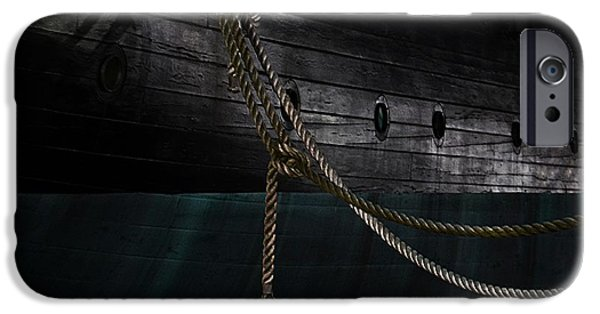 Constellations iPhone Cases - Ropes on the USS Constellation Navy ship iPhone Case by Marianna Mills