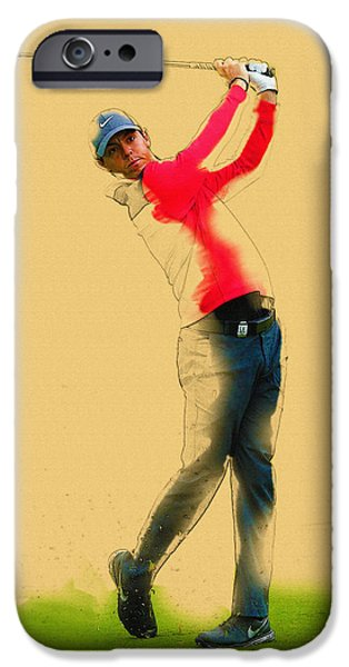 Michelle iPhone Cases - Rory McIlroy of Northern Ireland plays an iron shot iPhone Case by Don Kuing