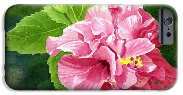 Rose iPhone Cases - Rose Colored Hibiscus with Textured Background iPhone Case by Sharon Freeman