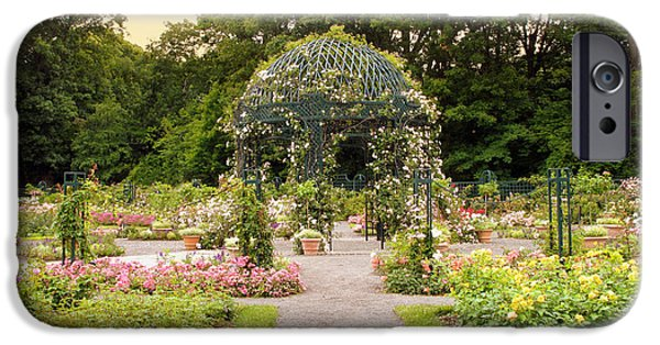 Pathway iPhone Cases - Rose Garden Gazebo iPhone Case by Jessica Jenney