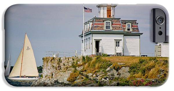 New England Lighthouse iPhone Cases - Rose Island Light iPhone Case by Susan Cole Kelly