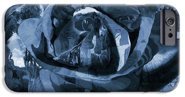 Monochromatic Digital Art iPhone Cases - Rose No 1 iPhone Case by David Bridburg