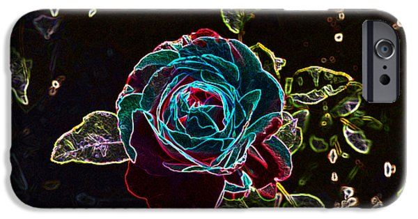 Abstract Digital Photographs iPhone Cases - Rose Outline Abstract iPhone Case by Linda Brody