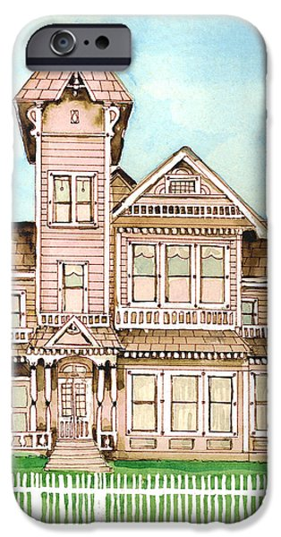Haunted House Paintings iPhone Cases - Rose Victorian Inn - Arroyo Grande CA 1886 iPhone Case by Arline Wagner