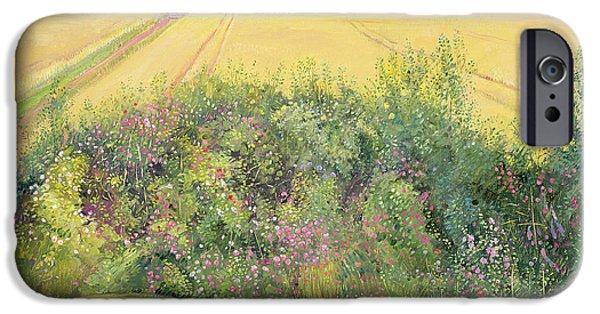 Rose iPhone Cases - Roses and Cornfield iPhone Case by Timothy Easton