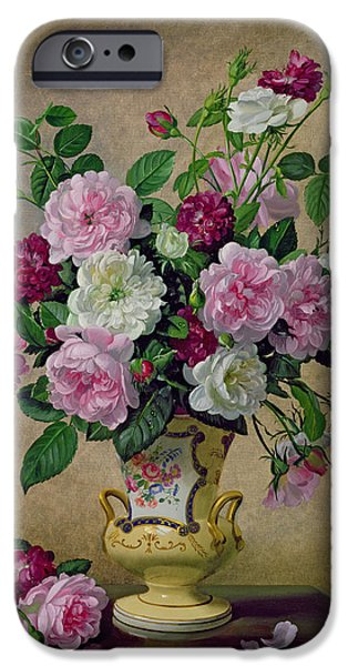 Rose iPhone Cases - Roses and dahlias in a ceramic vase iPhone Case by Albert Williams