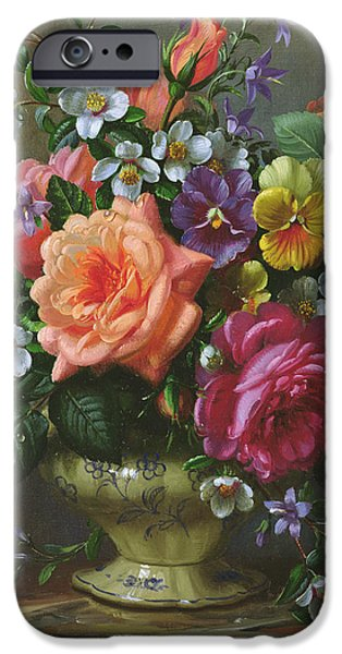 Pansy iPhone Cases - Roses and pansies iPhone Case by Albert Williams
