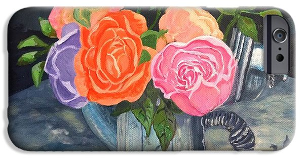 Carolinestreetart iPhone Cases - Roses at Summerfields iPhone Case by Caroline Street