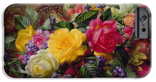 Reflection Paintings iPhone Cases - Roses by a Pond on a Grassy Bank  iPhone Case by Albert Williams