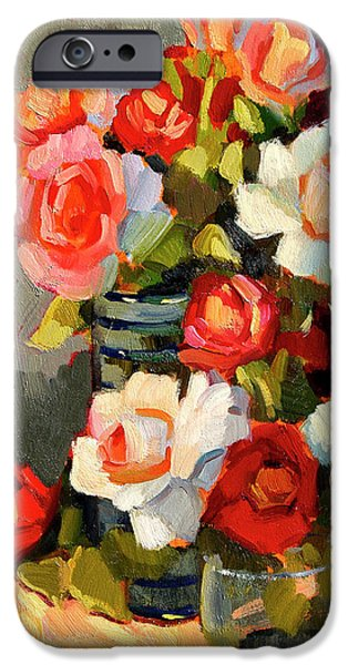 Peach Rose iPhone Cases - Roses From My Garden iPhone Case by Diane McClary