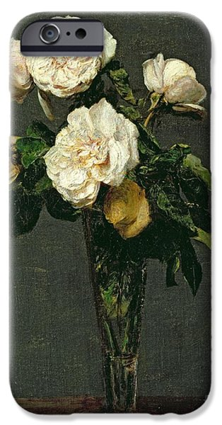 Flora iPhone Cases - Roses in a Champagne Flute iPhone Case by Ignace Henri Jean Fantin-Latour