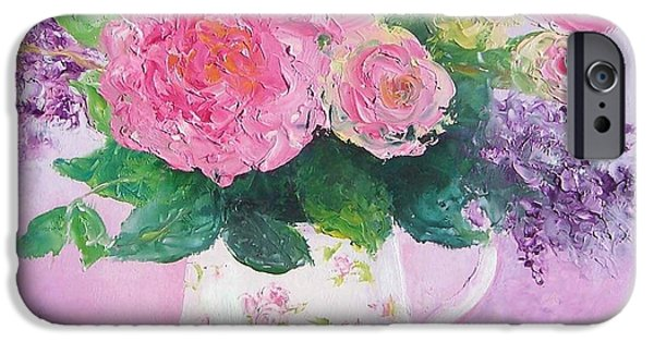 Shower Curtain iPhone Cases - Roses in a pink floral jug iPhone Case by Jan Matson