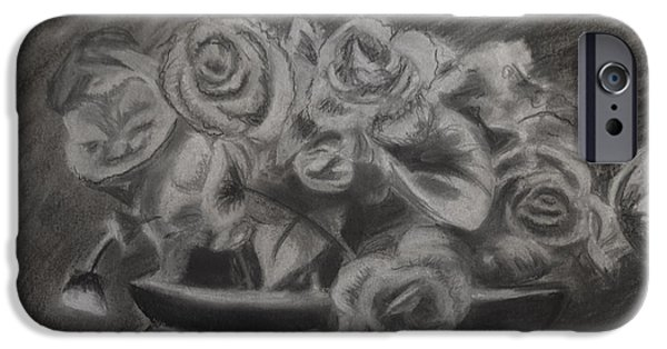Flora Drawings iPhone Cases - Roses in a Pot iPhone Case by Melissa Brazeau