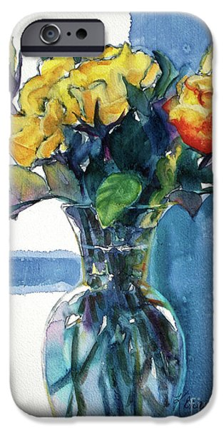 Flora Mixed Media iPhone Cases - Roses in Vase Still Life I iPhone Case by Kathy Braud