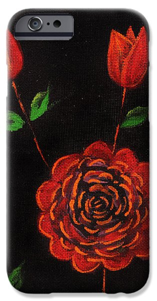 Concept Art Drawings iPhone Cases - Roses iPhone Case by Nirdesha Munasinghe