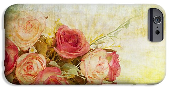 Aging iPhone Cases - Roses Pattern Retro Design iPhone Case by Setsiri Silapasuwanchai