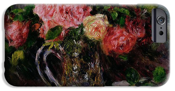 Flora iPhone Cases - Roses iPhone Case by Pierre Auguste Renoir