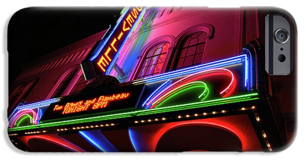 Red Carpet iPhone Cases - Roseville Theater Neon Sign iPhone Case by Melany Sarafis